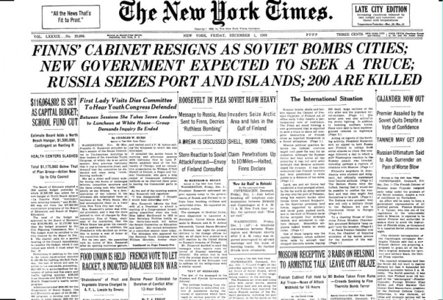 The front page of the New York Times on 1 December 1939.